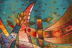 """Handwoven Tapestry by Maximo Laura """"Spiritual Chants to our Roots"""". Tapestry Detail."""
