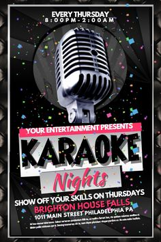 Karaoke Night Flyer Design Click To Customize  Karaoke Poster