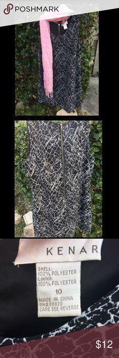 KENAR Black and White Splatter Zigzag Shift Dress Black and White sleeveless shift dress by KENAR at Macy's. Zip back. Size 10. Runs true to size. Kenar Dresses Midi
