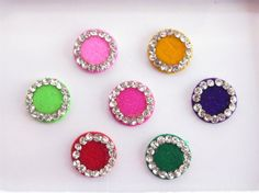 Round Colored Bollywood Bindis Studded With by Beauteshoppe