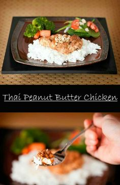 This recipe is a must make! Thai peanut butter chicken you can make in the oven or a slow cooker. Your whole family will love this.