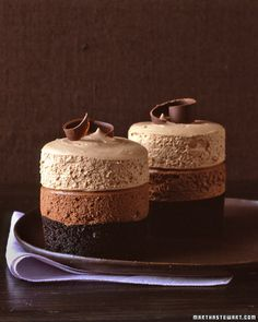 Triple-Chocolate Mousse Cake.  This could be a good Halloween recipe - who knows what that brown might be made of... or maybe use some red food coloring...