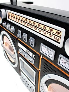 High quality Giant Ghetto Blaster Prop With Lights - Black available to hire. View Giant Ghetto Blaster Prop With Lights - Black details, dimensions and images. 1980s Boombox, Dj Stand, Fm Band, Prop Hire, Dj Booth, Wooden Storage Boxes, Record Player, Bar Drinks, Night Club