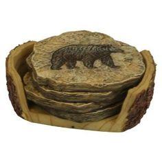 Stone Look Coaster Set with Bear Imprints, Rustic Lodge Decor