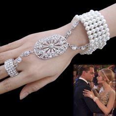 The Great Gatsby Wedding Pearl Stretch Bracelet Ring Set Rhinestone Crystal