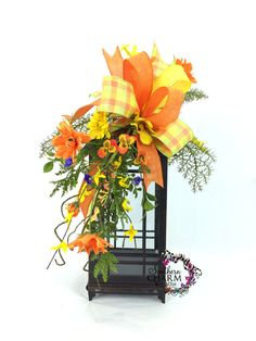 ON SALE Spring Lantern Swag Orange Yellow by SouthernCharmWreaths