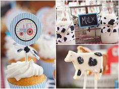 """ARLING BARNYARD BIRTHDAY PARTY  As a little girl, going to visit a farm at camp was my favorite summer activity! I loved seeing all the cows, pigs, and barnyard activity. I think hosting a BARNYARD Birthday Bash is a fabulous kids' party theme! This 1st birthday party was styled byMichelle Skinnerwith printables byA Blissful Nest! I'm in awe of the cute elements of this party from the milk jugs with striped straws to the gingham """"MOO"""" letters and chalkboard signs."""