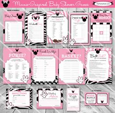 Baby Shower Games, Minnie Mouse Baby Shower Game, PRINTABLE, Many Unique Games to Choose From by thepartystork on Etsy https://www.etsy.com/listing/233133988/baby-shower-games-minnie-mouse-baby