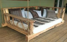 A porch swing bed! I want this so much!!!!