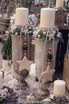Luxuriöse luxurious Related posts: Window decoration Christmas – once again great ideas! Make DIY concrete stars yourself – a wonderful Christmas decoration Christmas decoration in the garden More Legend Simple and elegant Christmas decoration ideas Centerpiece Christmas, Decoration Christmas, Christmas Candles, Christmas Colors, Rustic Christmas, Xmas Decorations, Christmas Themes, Handmade Christmas, Christmas Crafts