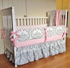 Girls nautical crib bedding - Crib Bedding Baby Girl Bedding Set Pink Gray Damask Made To Order