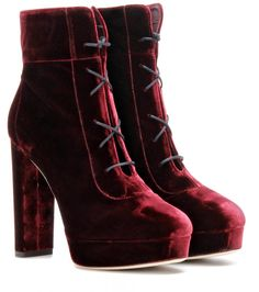 Jimmy Choo Deon 120 Velvet Ankle Boots (see more heeled booties) Red Velvet Boots, Red Heel Boots, Short Heel Boots, Shoes Boots Ankle, Velvet Ankle Boots, Red Booties, Velvet Shoes, Platform Ankle Boots, Ankle Booties