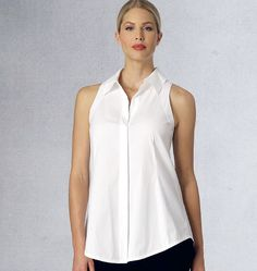 The cutaway shoulders on this Donna Karan for Vogue Patterns top are what makes it unique. V1440 includes Misses' Jacket, Top and Pants