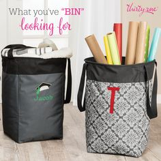 So many uses for this Thirty One Stand Tall Bin! Wrapping paper, blankets, towels, toys, etc. What else would you put in here?