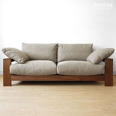 joystyle-interior | Rakuten Global Market: Walnut Walnut solid wood natural wood wooden frames covering Sofer high density polyurethane and feather, solid frame made sofa-sofa 3 P-SOFA-M pillow 2 the amount depends on the Internet shop limited original size *!