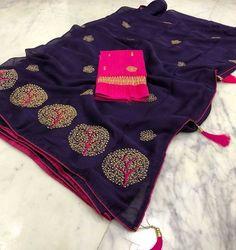 Pure Chiffon Tree Sarees at (PID: Chiffon Embroidery Sarees. Simple Sarees, Trendy Sarees, Fancy Sarees, Indian Silk Sarees, Indian Sarees Online, Pure Silk Sarees, Chiffon Saree, Saree Dress, Cotton Saree