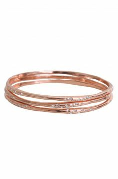 Our new Rose Gold Bangles!! LOVE. Set of 3 for just $79. www.stelladot.com/leighann