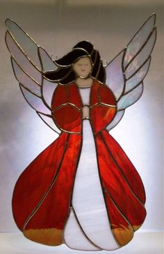 Angel in red stained glass