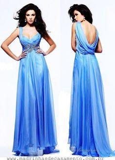 Madrinhas de casamento: Com detalhes: Vestido para madrinha azul
