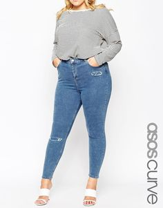 ASOS+CURVE+Ridley+Ankle+Grazer+Jean+in+Cypress+Midwash+with+Rip+and+Destroy+Bust