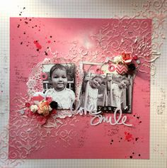 LO by Denyse Bedard - love the textured stencilling stretching across the page.  Beautiful! http://scrapden.blogspot.ca/