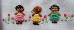 Muñequitas. Bordadas en Rococo Embroidery Stitches, Hand Embroidery, Embroidery Designs, Brazilian Embroidery, Hobbies And Crafts, Hand Stitching, Smocking, Sewing Projects, Manga