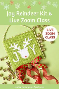 Join us for a live Zoom class on Saturday June 27th at 2pm ET. Expert instructor Jinny McAuliffe will walk you through everything you will need to know to stitch this festive Pepperberry Joy Reindeer canvas. #pepperberrydesigns #needlepointdotcom #needlepointclass #christmasneedlepoint