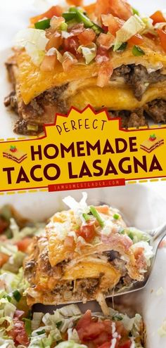 Here's a Mexican-inspired main dish idea that you will surely love! Enjoy the layered goodness of this Taco Lasagna. This delicious dinner recipe has perfectly seasoned beef, soft-shelled tortillas, cheese sauce, and salsa! Easy Homemade Recipes, Homemade Tacos, Homemade Taco Seasoning, Lasagna Ingredients, Taco Ingredients, Chicken Taco Soup, Canned Chicken, Meat And Cheese, Cheese Sauce