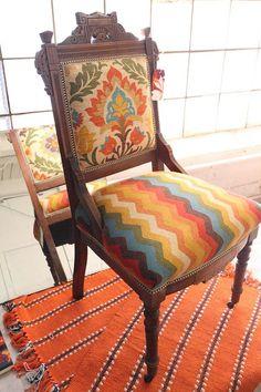 The Textile Company - Chair Back Saragossa col. Adobe. Chair seat Navarra col. Adobe. Modern Ethnic fabrics, orange, rust, blue. Autumn colours