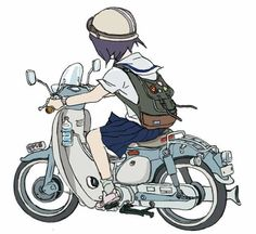 Ideas Motorcycle Girl Art Pictures For 2019 Scooters, Honda Cub, Girl Art Picture, Auto Illustration, Lambretta, Poses References, Motorcycle Art, Motorcycle Birthday, Character Design References
