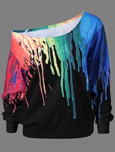 Paint Drip Design Skew Collar Sweatshirt in Black   Sammydress.com
