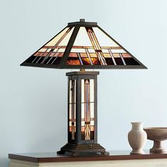 Robert Louis Tiffany Alfred Mission Tiffany Table Lamp - #8C278 | Lamps Plus