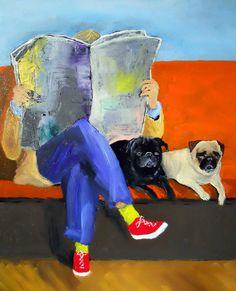 "Pug Dog Art Print/Fawn/Black/""Quality Time""/by Original M. Holzer"