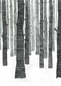 Les Petites Choses forest trees illustration