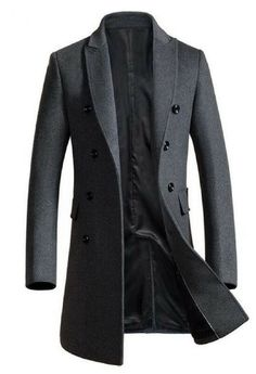 4e6b20c33b4 Winter Thicken Wool Mid Long Business Casual Trench Coat Slim Fit Jacket  for Men