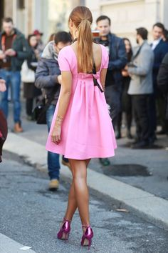From Milan Fashion Week 2014 Street Style  Even from the back we have outfit envy. Source: Tim Regas