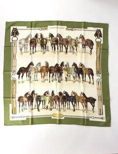 "Rare HERMES Green/White ""L'Arriere-Main"" Silk Scarf |Philippe Ledoux 1969 |90cm #HermesParis #Scarf"