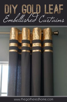 DIY - Glamours Curtains -Take a pair of plain curtains and turn them into a glamorous decorating statement with this easy tutorial for gold leaf embellished curtains. Plain Curtains, Drapes Curtains, Curtain Panels, Bedroom Curtains, Sequin Curtains, Drapery, Stripe Curtains, Camper Curtains, Painted Curtains