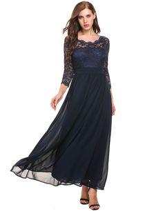 3/4 Sleeve Lace Patchwork O Neck Wedding Bridesmaid Dresses