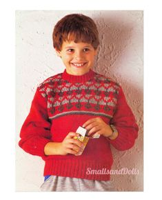 Vintage Knitting Patttern Graph Style Children\u2019s Girls\u2019 Boys\u2019 Reindeer Pullover Sweater Size 8-10-12 yr Original not PDF Leaflet 8489