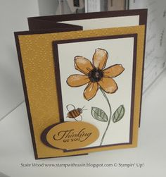 Stampin' Up!-  Here is a fun 'z fold card' I created.  I love this stamp set and these colors together!  This is a new set called- 'Garden In Bloom'.