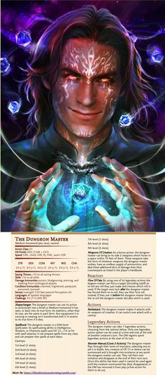 Found this in an old folder. Stat Block for Matthew Mercer a friend challenged me to make. Tried to figure out what powers a DM should have inside their own game. Summoning creatures from the monster...