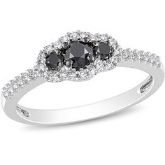 1/2 Carat T.W. Black and White Diamond Ring in 10kt White Gold(4mm and 2.3mm)