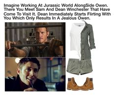 """Imagine Working At Jurassic World Alongside Owen. There You Meet Sam And Dean Winchester That Have Come To Visit. Dean Immediately Starts Flirting With You Which Only Results In A Jealous Owen."" by alyssaclair-winchester ❤ liked on Polyvore featuring RVCA, Vero Moda, Fat Face and Timberland"
