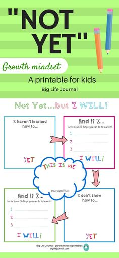 """Teach your child the power of """"not yet"""" with this fun printable. Let them think about what they want to learn which they don't know YET. This is part of Big Life Journal's growth mindset printables for kids. Social Emotional Learning, Social Skills, Coping Skills, Mindfulness For Kids, Mindfulness Activities, Printables Organizational, The Power Of Yet, Growth Mindset Activities, Visible Learning"""