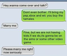 Iphone sms - marry me couple texts, funny texts, fail texts, funny jokes Funny Texts Jokes, Funny Texts Crush, Text Jokes, Funny Text Fails, Stupid Funny Memes, Funny Relatable Memes, Funny Quotes, Fail Texts, 9gag Funny