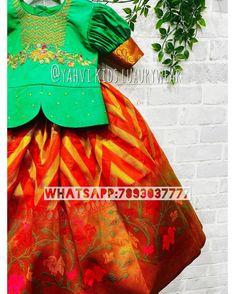 Kids Blouse Designs, Saree Blouse Designs, Kids Pattu Pavadai, Baby Fancy Dress, Green Wing, Kids Lehenga, Red Art, Floral Border, Rangoli Designs