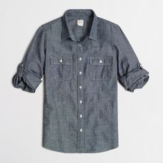 FACTORY TWO-POCKET CHAMBRAY SHIRT DETAILS Cotton. Long roll-up sleeves with button-tabs. Machine wash. J. Crew Tops Button Down Shirts