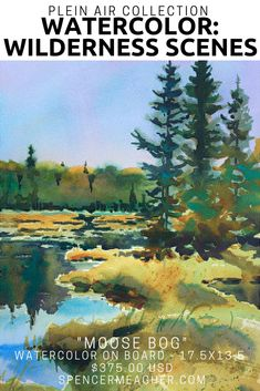 Click here to see this original watercolor painting from plein air painter, Spencer Meagher. This piece of artwork features pine trees along a swampy bog. This painting would make a unique christmas gift or wall decor. Prints available on Fine Art America.