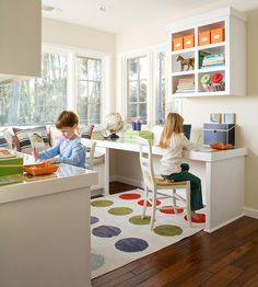 love this kid homework/art zone when the play kitchen & train table are gone in a few years!